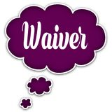 WAIVER on magenta thought cloud. Illustration graphic concept Stock Images