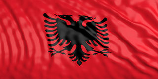 Waiving Albania flag. 3d illustration Stock Images