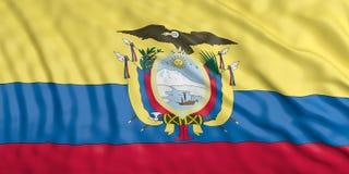 Waiving Ecuador flag. 3d illustration Royalty Free Stock Photography