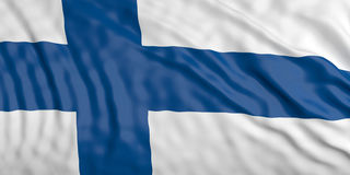 Waiving Finland flag. 3d illustration. Waiving in the wind flag of Finland. 3d illustration Stock Photo