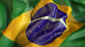 Waiving flag of Brazil, Brazil. Patriot Stock Image