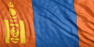 Waiving Mongolia flag. 3d illustration Royalty Free Stock Image