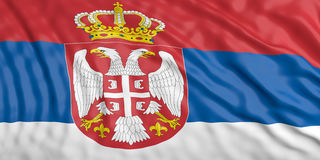 Waiving Serbia flag. 3d illustration Stock Photography