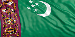 Waiving Turkmenistan flag. 3d illustration Royalty Free Stock Photography
