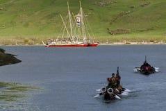 Waka Tapu Historic Voyage Arrived Home Stock Photos