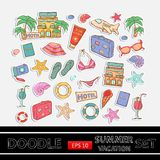 Wakacje doodle set majcher Z o temacie Fotografia Stock