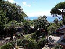 Wakacje hotelview morza śródziemnomorskiego willi luksus Liguria Zdjęcie Stock