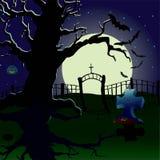 Wakacje jest Halloweenowy cmentarz Zdjęcia Royalty Free