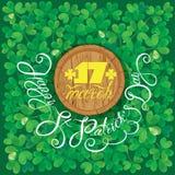 Wakacje karta z kaligraficznych słów St Patrick ` s Szczęśliwym dniem ro ilustracja wektor
