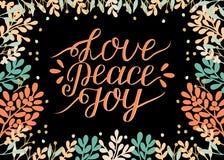 Wakacje karta z wpisową miłością, pokój, radość, zrobił ręki literowaniu Biblijny tło Chrześcijański plakat Nowożytna kaligrafia royalty ilustracja