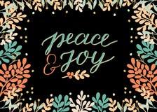 Wakacje karta z wpisowym pokojem i radością robić ręki literowanie, Biblijny tło Chrześcijański plakat Nowożytna kaligrafia ilustracji