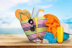 Wakacje, lato, Plażowa torba Fotografia Royalty Free
