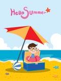 Wakacje letni ilustracja, płaska projekta skarbu chłopiec i plaża, pojęcie Zdjęcie Royalty Free