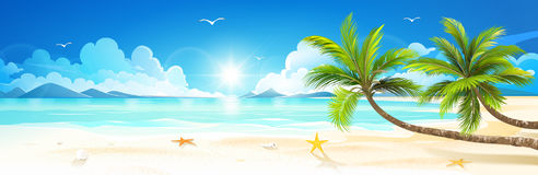 Wakacje letni na tropikalnej plaży wektor Zdjęcia Stock
