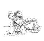 Wakacje letni - oryginalna ręka rysująca ilustracja Zdjęcia Stock