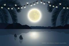 Wakacje letni raju palmy plaża przy blask księżyca ilustracji
