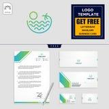wakacje logo szablon i bezpłatny letterhead, koperta, wizytówka ilustracja wektor
