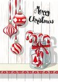 Wakacje motyw, Bożenarodzeniowe dekoracje z rocznika szklanym słojem i cukierek trzciny, ilustracja Zdjęcie Stock