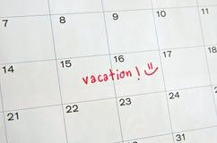 Wakacje na kalendarzu fotografia royalty free