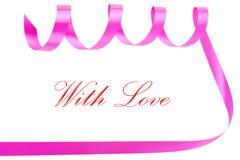 wakacje odizolowywający nad tasiemkowym valentine biel Zdjęcie Royalty Free