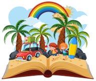 Wakacje otwarta książka ilustracji