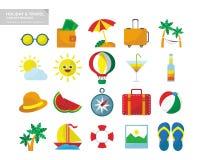 Wakacje & podróży ikony Ustalony pakunek royalty ilustracja
