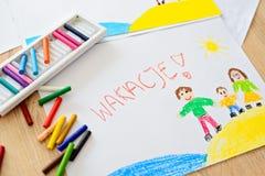 Wakacje - polnisches Wort für Sommerferien Stockbilder