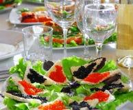 Wakacje stół, karmowa kanapka Zdjęcie Stock