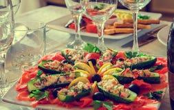 Wakacje stół, karmowa kanapka Obrazy Royalty Free