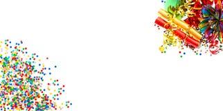 Wakacje sztandar Girlandy, serpentyna i confetti, obraz stock