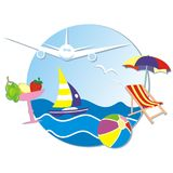 Wakacje, sztandar, morze, żaglówka, samolot, sunbed i parasol, koktajl Zdjęcia Stock