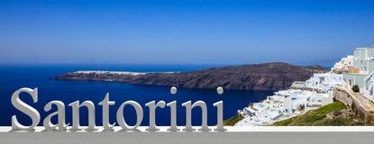 Wakacje w Greckich wyspach Santorini, Fira, Grecja, sztandar zdjęcie stock