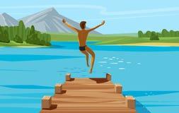 Wakacje, weekend, relaksuje pojęcie Młodego człowieka doskakiwanie w jezioro lub wodę również zwrócić corel ilustracji wektora ilustracji