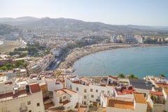 Wakacje, widok Peniscola grodzki Walencja, Hiszpania Turystyka, sp obrazy royalty free