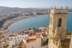 Wakacje, widok Peniscola grodzki Walencja, Hiszpania Turystyka, sp obraz stock