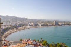 Wakacje, widok Peniscola grodzki Walencja, Hiszpania Turystyka, sp fotografia stock