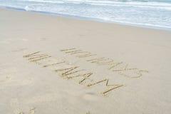 Wakacje Wietnam pisać w piasku Zdjęcia Stock