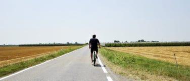 Wakacje wycieczka na bicyklu - rowerzysta przejażdżka przez złocistego rolniczego pola obraz royalty free