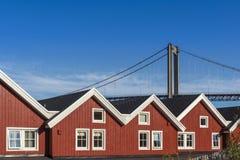 Wakacji domy na Lofoten wyspach Obrazy Stock