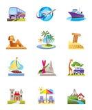 wakacji ikony podróży wakacje Zdjęcie Stock