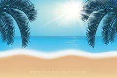 Wakacji letnich pocztówkowi drzewka palmowe na raj plaży ilustracji