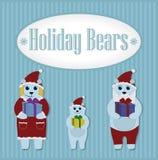 Wakacji niedźwiedzie Zima Set Obrazy Royalty Free