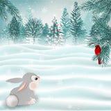 Wakacyjna Bożenarodzeniowa scena z ślicznym królika i kardynała ptakiem wektor royalty ilustracja