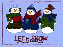 Wakacyjna ilustracja Bożenarodzeniowi bałwany nowego roku karty Zimy postać Zdjęcie Royalty Free