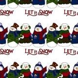 Wakacyjna ilustracja Bożenarodzeniowi bałwany nowego roku karty Zimy postać bezszwowy wzoru Obrazy Stock
