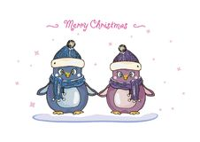 Wakacyjna pingwin karta Zdjęcie Stock
