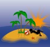 wakacyjna samotną wyspę ilustracji