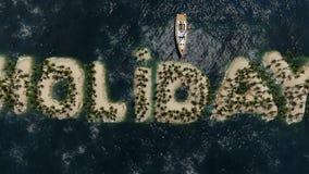 Wakacyjna Tropikalna wyspa Z drzewkiem palmowym ilustracji