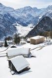 Wakacyjne chałupy w Braunwald, Szwajcaria Obraz Royalty Free