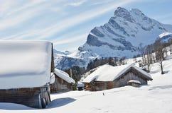 Wakacyjne chałupy w Braunwald, Szwajcaria Zdjęcie Royalty Free